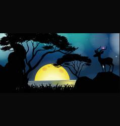 Silhouette scene with deer by the lake vector