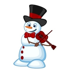 Snowman with hat and bow ties playing the violin vector