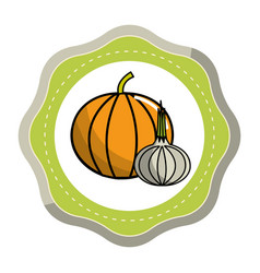 Sticker pumpkin and garlic vegetable icon vector