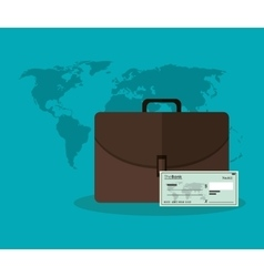 Suitcase check and map of money concept vector