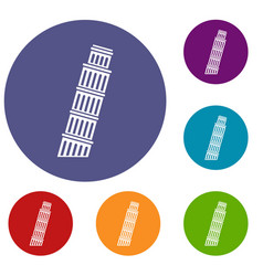 Tower of pisa icons set vector
