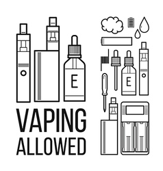 Vaping allowed icons vector