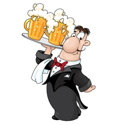 waiter with beer vector image vector image