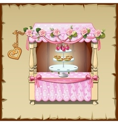 Wedding table decorated with pink tablecloth vector