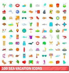 100 sea vacation icons set cartoon style vector image vector image