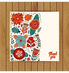 Card design flowers and leaf doodle elements vector