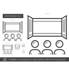 Movie theater line icon vector