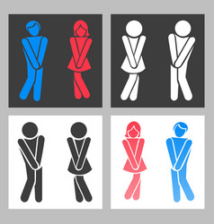 wc sign funny boy and girl toilet icons or vector image