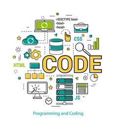 Programming and coding - linear concept vector