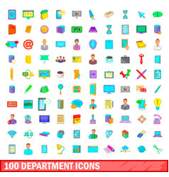 100 department icons set cartoon style vector
