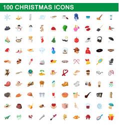 100 christmas icons set cartoon style vector