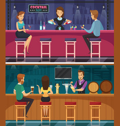 Cocktail bar cartoon horizontal banners vector