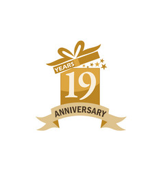 19 years gift box ribbon anniversary vector image