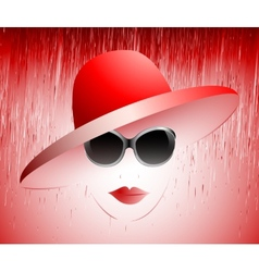 girl in a red hat vector image