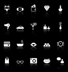 Lady related item icons with reflect on black vector
