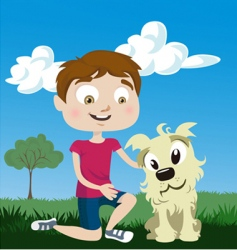 Cartoon boy with dog vector
