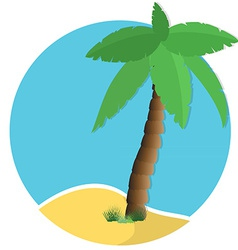 Palm tree on island vector