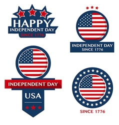 Happy independent day badge and labels vector