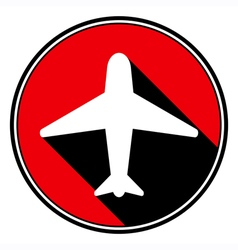 Red information icon - white airplane vector