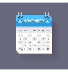 Calendar November Flat Design vector image