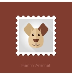 Dog flat stamp animal head vector