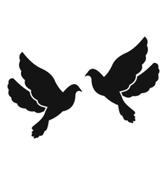 Two doves simple icon vector