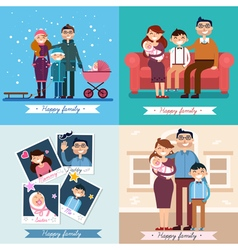 Happy family with newborn baby set vector