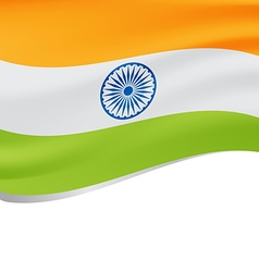 Waving flag of india isolated on white vector