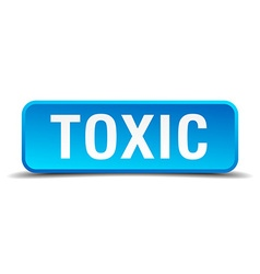 Toxic blue 3d realistic square isolated button vector
