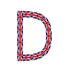 Letter d made from united kingdom flags vector