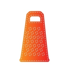 Cheese grater sign orange applique isolated vector