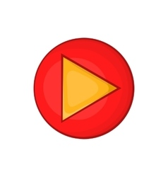 Red play button icon in cartoon style vector