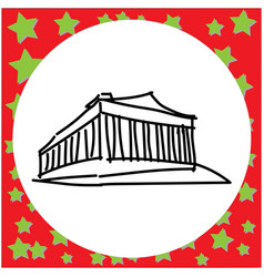 acropolis of athens black line vector image