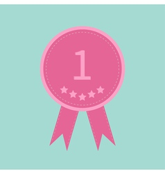 Badge ribbons and number one five stars award vector