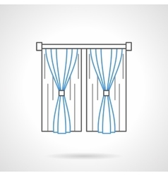 Bedroom curtains flat line icon vector image