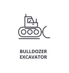 bulldozer excavator line icon outline sign vector image