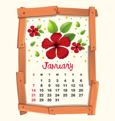 calendar template with red hibiscus for january vector image vector image