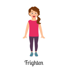 Cartoon little frighten girl vector