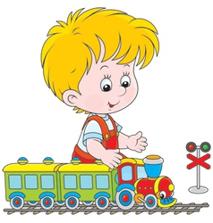 Child playing with a train vector image vector image