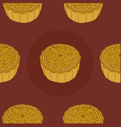chinese cuisine moon cake seamless pattern vector image vector image