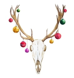 Christmas deer skull vector
