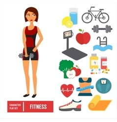 Fitness character set icons vector image vector image