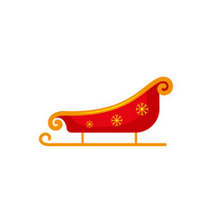 flat style red gold santa sleigh christmas icon vector image