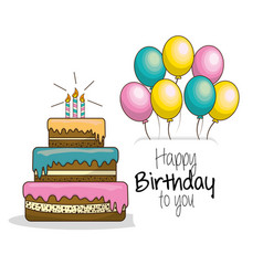 Happy birthday decoration with cake candles and vector