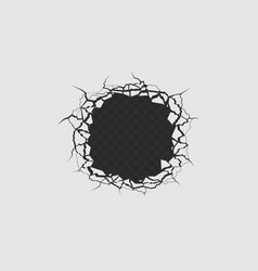 Hole with cracks vector