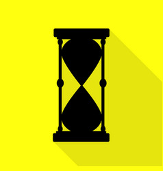 Hourglass sign black icon with flat vector