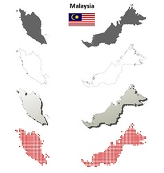 Malaysia outline map set vector