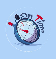 on time delivery service emblem with chronometer vector image vector image