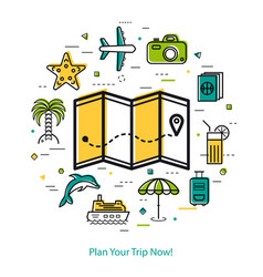 plan your trip now - round line concept vector image vector image