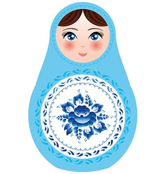 Russian nesting dolls on a white background with vector image